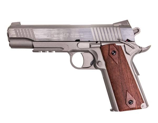 Bilde av Colt 1911 Rail - Co2 drevet Softgun uten Blowback - Sølv